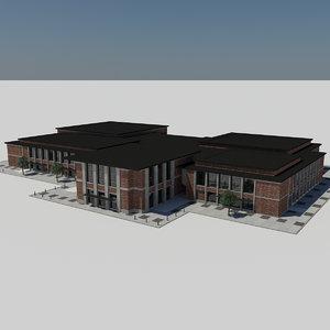 - modern city school 3d max