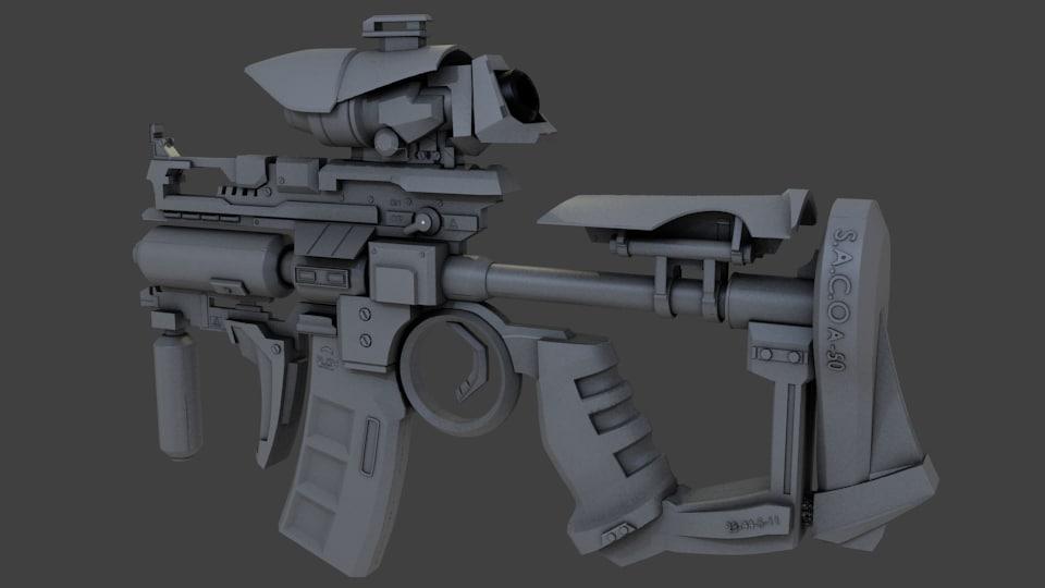 3d model of sci fi weapon