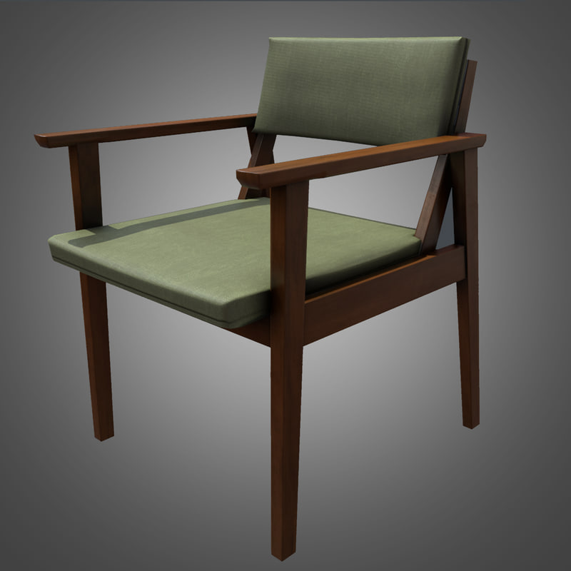 midcentury chair ready 3d model