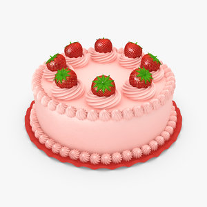 strawberry cake 02 3d max