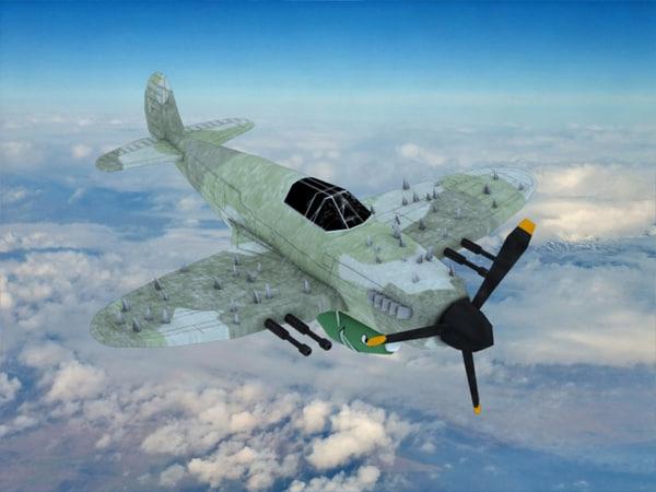 stylized spitfire plane 3d model