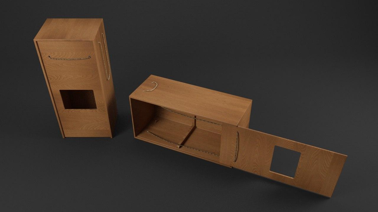 wooden box c4d