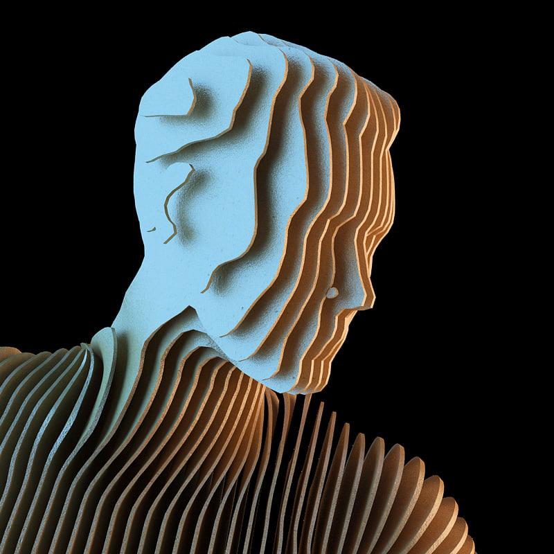 3d model contour man rigged