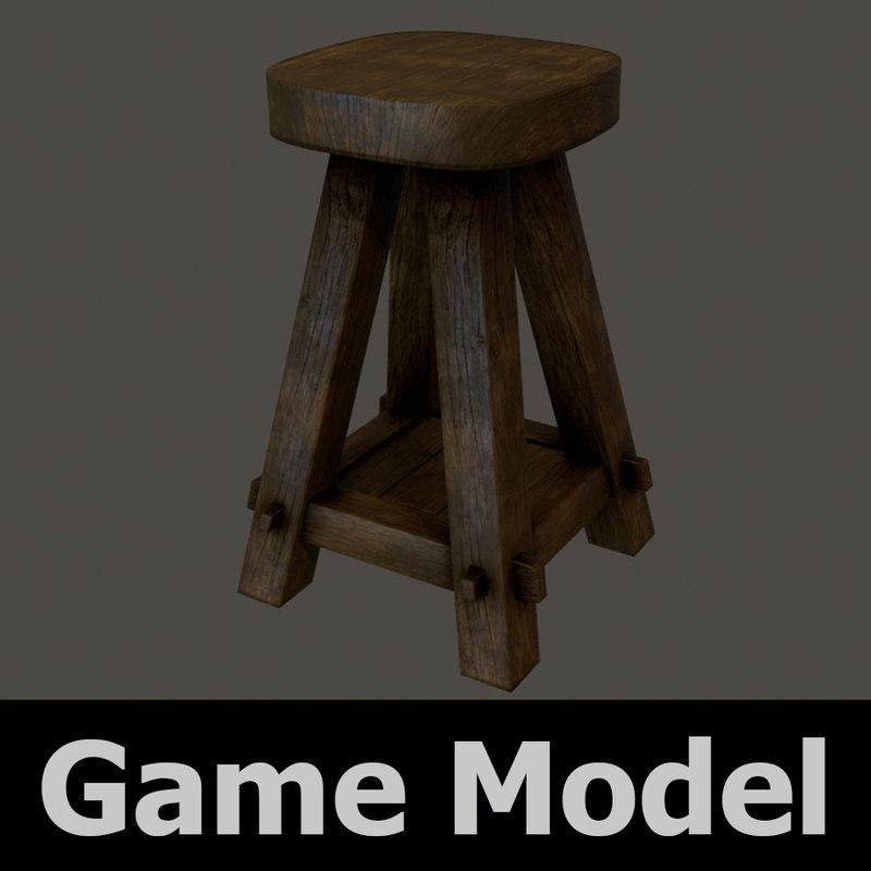 old wooden stool bar 3d x