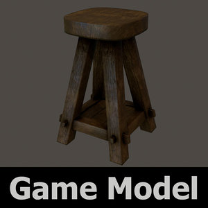 old wooden stool bar 3d x