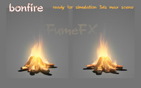 3d model bonfire ready scene fumefx