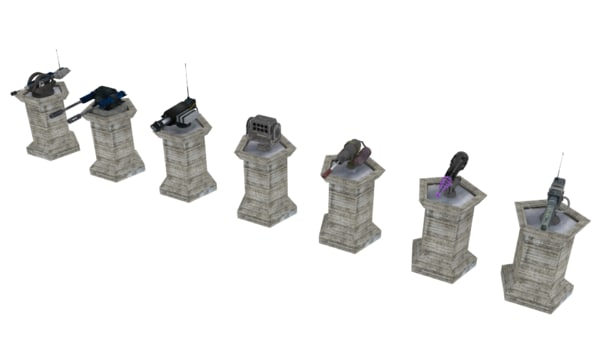 3d model turrets sci-fi towerdefense