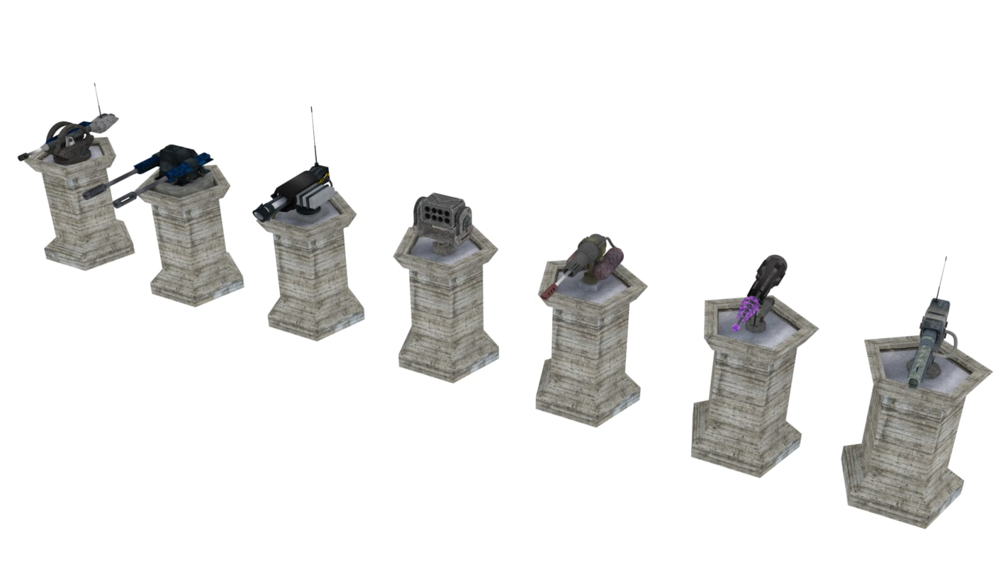 3d model turrets sci-fi towerdefense