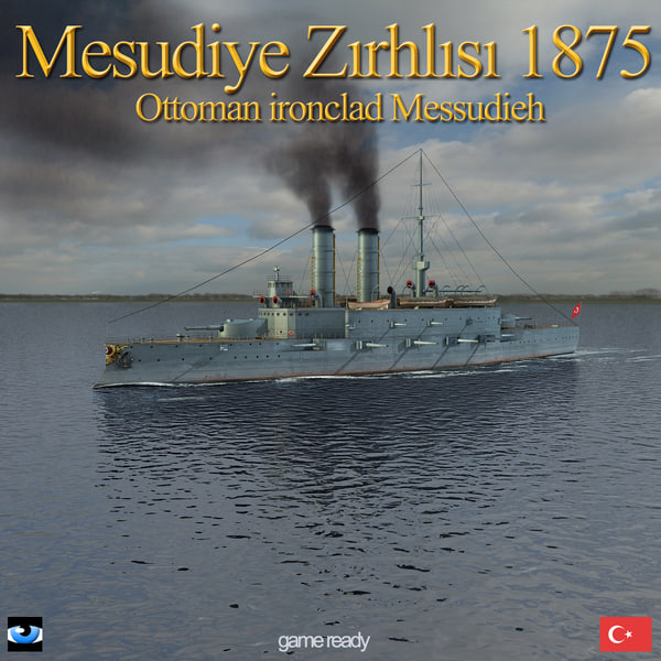 3d ottoman ironclad mesudiye sail model