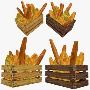 crate assorted bread 3d x