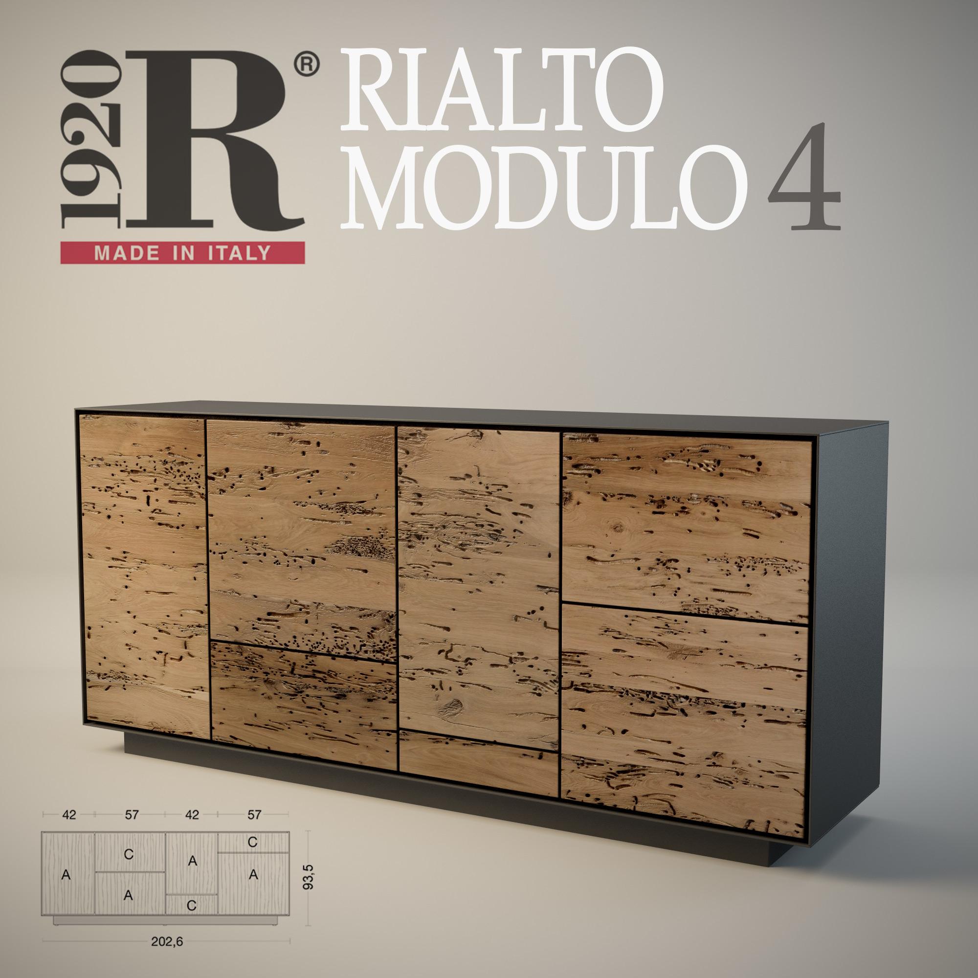 Aparador De Madera De Roble Veneciano Rialto Roble Modulo 4 Riva 1920
