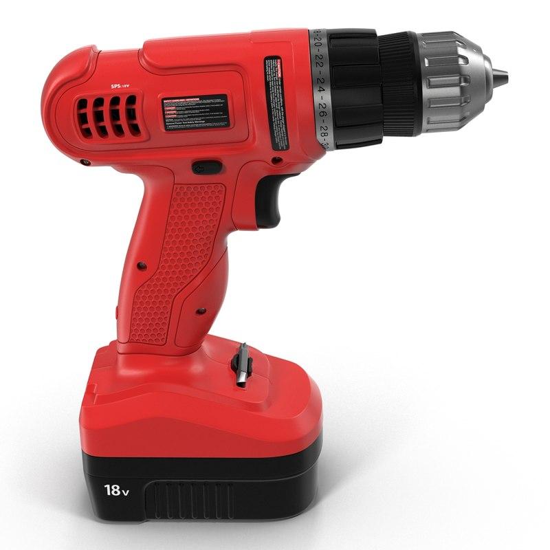 3d cordless drill modeled model