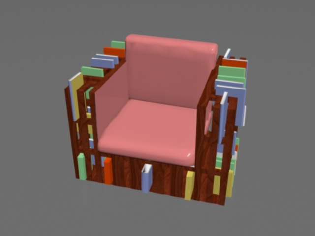 arm chair library 3d model