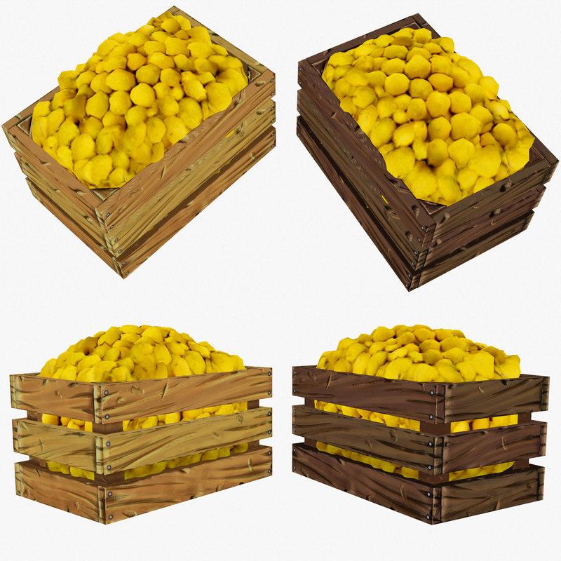 3d crate lemons polys