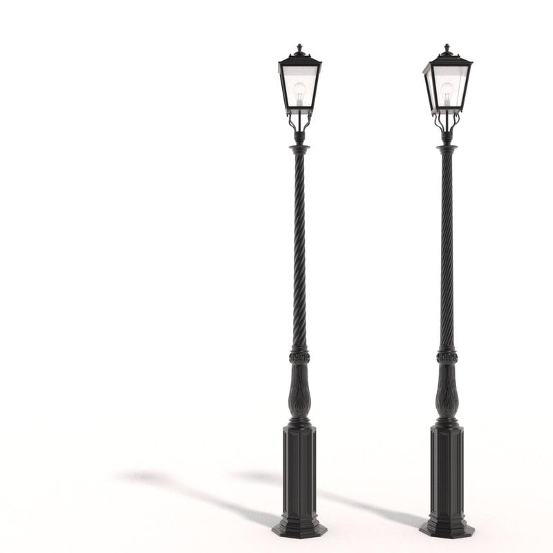 cast iron street lamps 3d obj