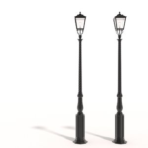 cast iron street lamps 3d obj