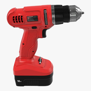 3d cordless drill modeled model
