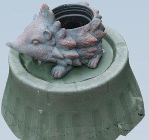 3d hedgehog plant pot polys model