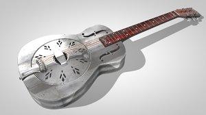 realistic steel guitar obj