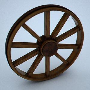 wheel wood 3d obj
