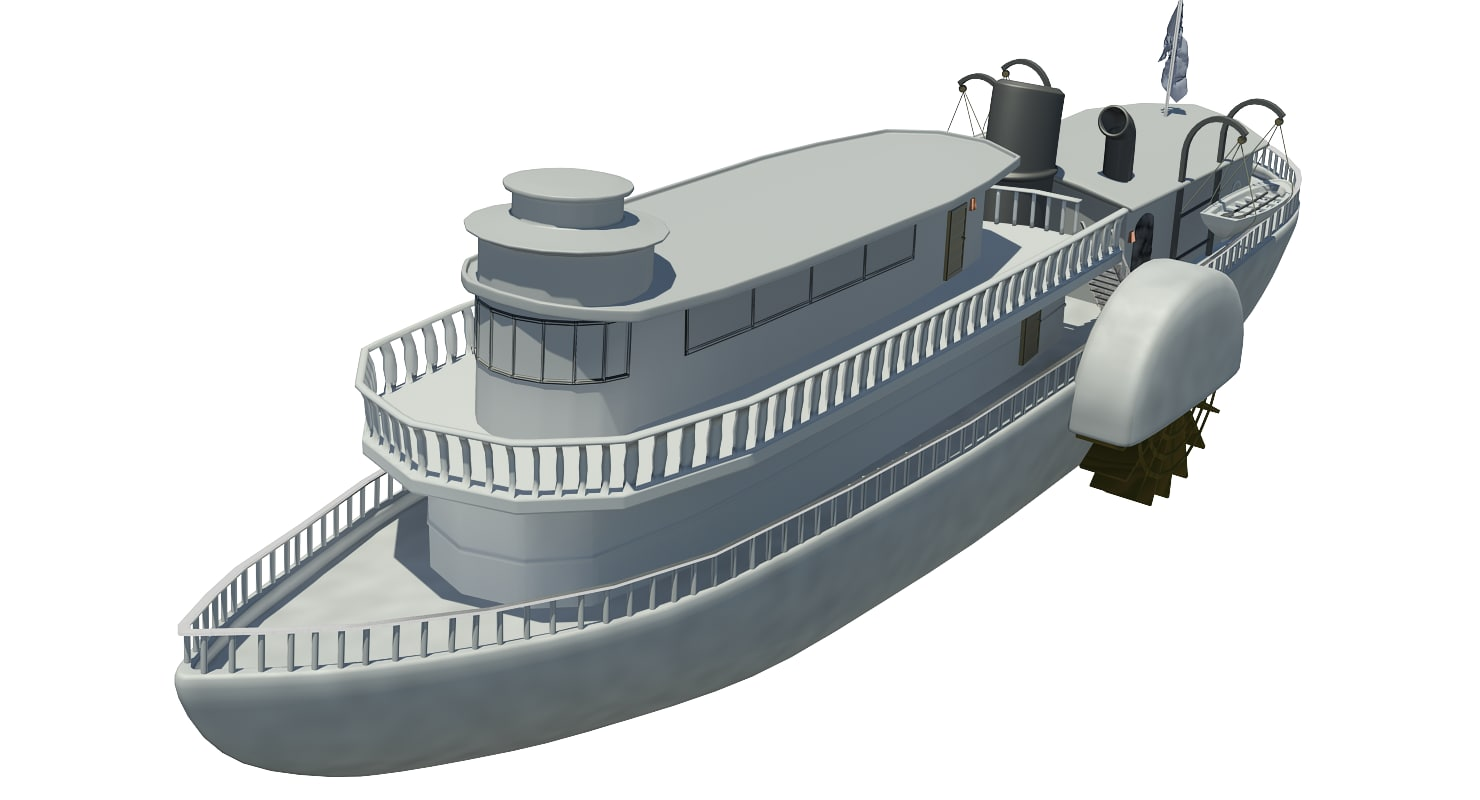 paddlewheel ship 3d model