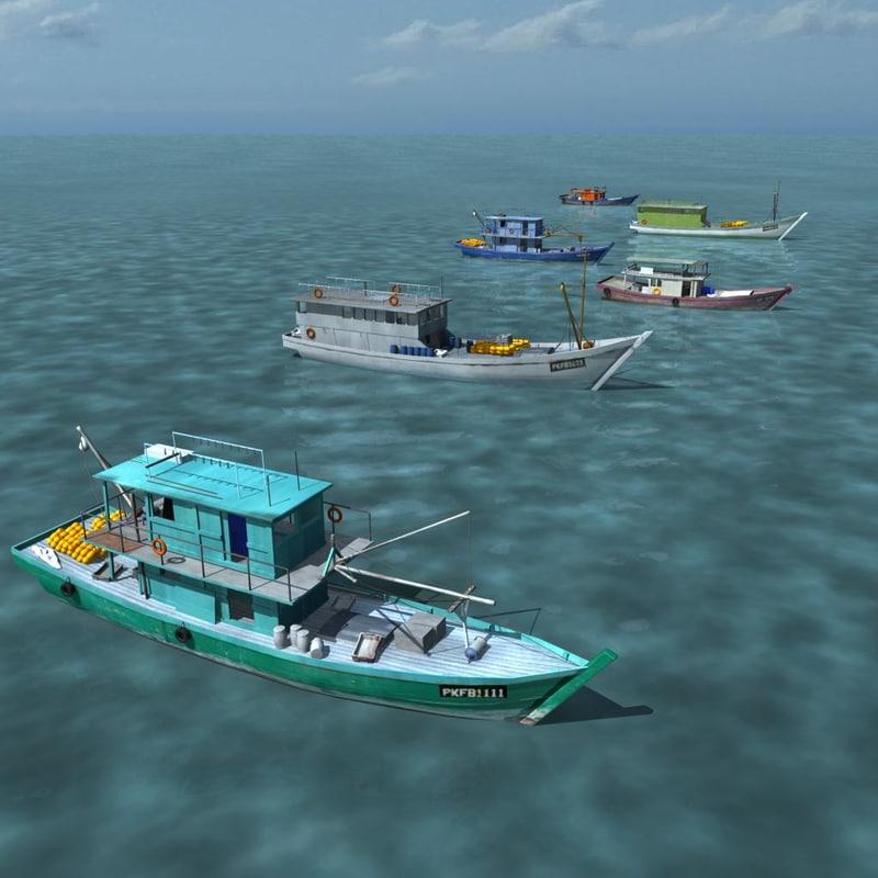 fishing boats asian obj