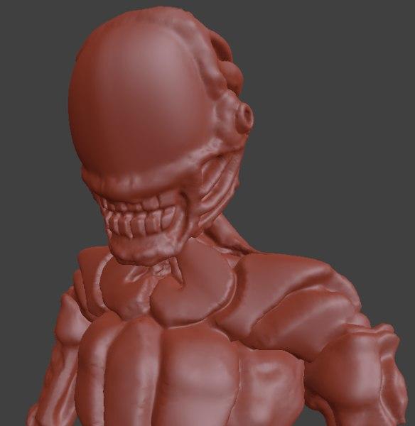 3d sculpt humanoid alien