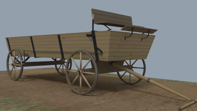 3d model buckboard wagon