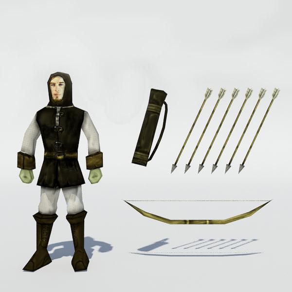 3d medieval archer bow arrows