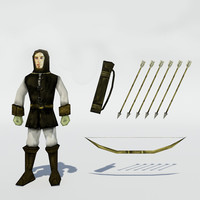 3d medieval archer bow arrows