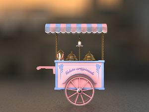3d model ice-cream handcart