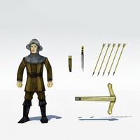 Low Poly Medieval Crossbowman Archer 2