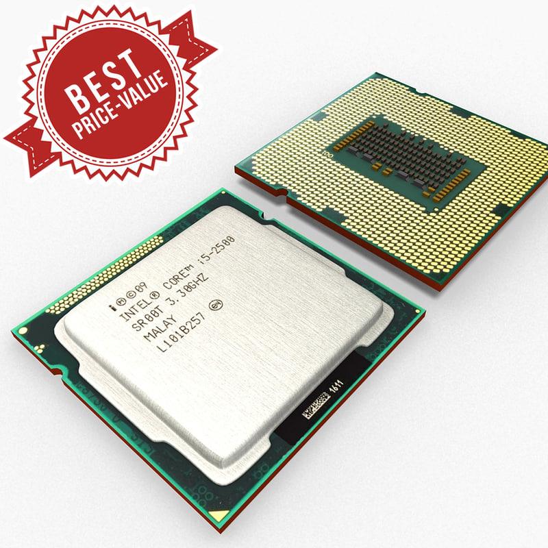 cpu intel i5 component 3d max