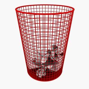 wire bin paper 3d model