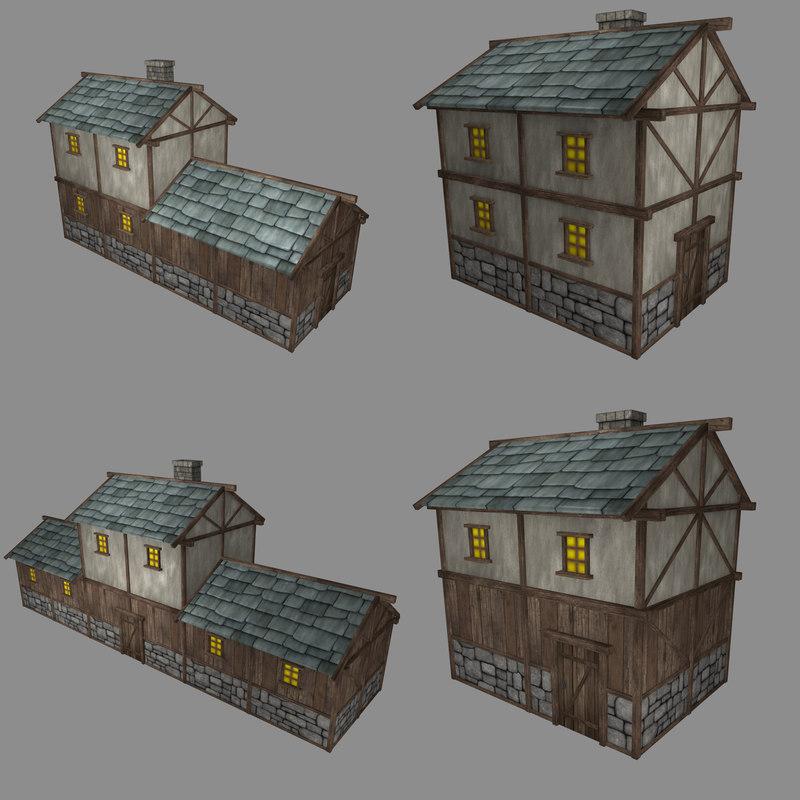 pack low-poly medieval buildings 3d obj