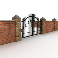 Brick fence with metal gates