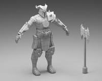 3d war warrior model