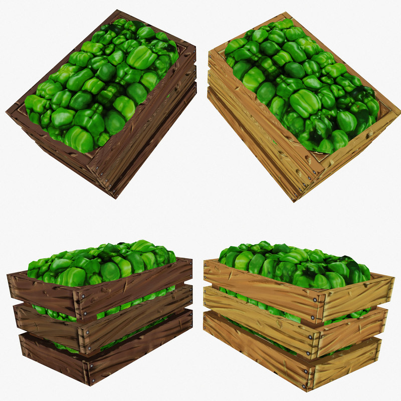 3d crate green peppers polys model