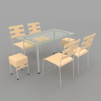 dining table chairs-6 chairs 3d model