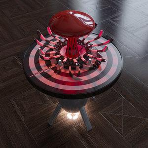 nuclear bulb lamp table 3d model