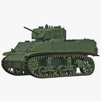 M5A1 Stuart Light WWII US Tank Rigged 3D Model