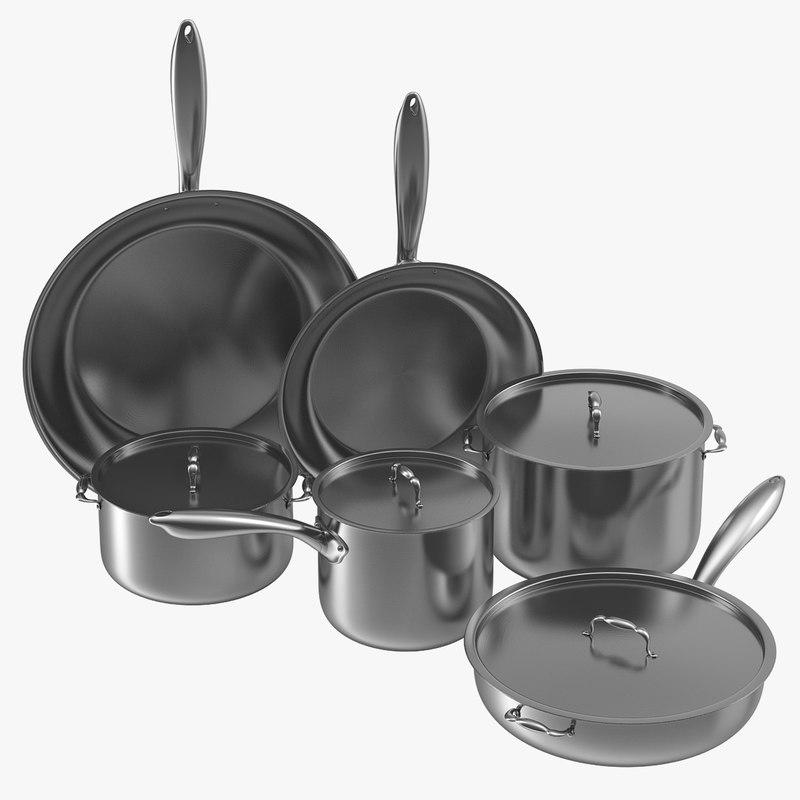 3d stainless kitchen pot set