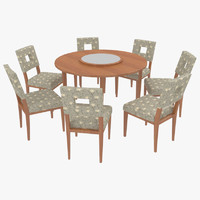 dining table chairs-8 chairs 3ds