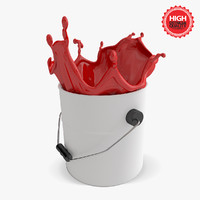 bucket paint splashes 3d 3ds