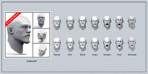 3d model of male head mopher human body