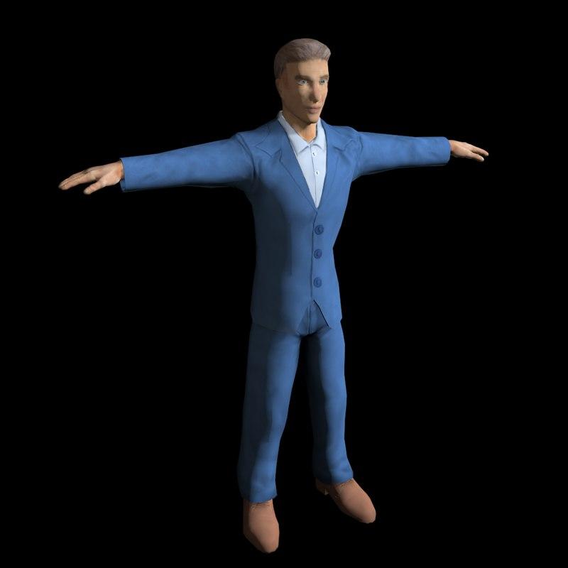 3d man suit rigged model