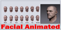 Realistic Male Head - Facial Animated