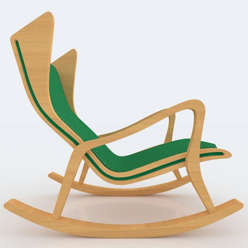 modern rocking chair design 3d max