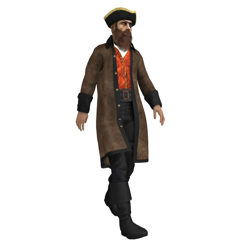 rigged pirate captain 3d max