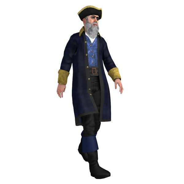 rigged pirate captain 3 3d model